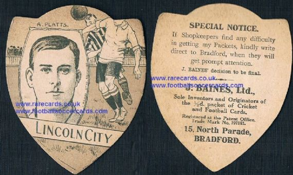 1910 Lincoln City Albert Platts Scunthorpe Worksop Baines of Bradford